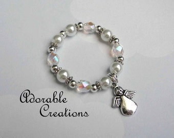 White Pearl & Crystal Angel Bracelet