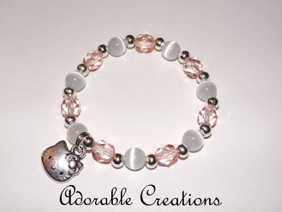 Light Pink & White Hello Kitty Bracelet