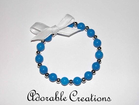 SALE Dark Aqua & Silver Bracelet With Satin Bow