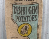 Discount - Vintage - Large Potato Sack - Desert Gem Potatoes - Nevada - Turquoise and Yellow Pioneer Wagon- (aka Second)