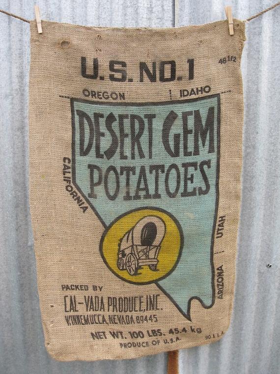 Discount - Vintage - Large Potato Sack - Desert Gem Potatoes - Nevada - Turquoise and Yellow Pioneer Wagon- (aka Second)