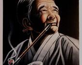 Vintage Velvet painting of pipe smoking grandma