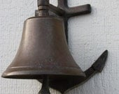 Vintage Brass Ship Bell W Anchor Mounting