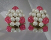 Vintage Pearl Earrings Hong Kong Honeysuckle Pink and Faux Pearls