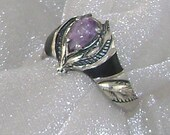 RESERVED FOR KATHERINE Silver and Purple Amethyst and Black Onyx Vintage Ring