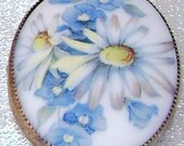 Sterling Silver Handpainted Blue Forget Me Not Flower Porcelain Cameo Vintage Brooch
