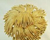 Early Black Friday Sale Vintage Brooch Monet Gold Shag Flower Mum
