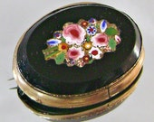 RESERVED for Elizabeth Vintage Pietra Dura Brooch Cameo Victorian Micro Mosaic Floral in Black Onyx