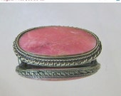 ANNIVERSARY SALE Vintage Brooch Rhodochrosite Honeysuckle Pink Silver