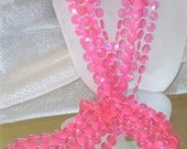 Vintage Necklace Long Honeysuckle Pink 3 Strand 2 Tone