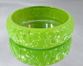 Vintage Lime Bracelet.  Lucite.  Lime Green and Clear Bangle.
