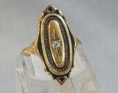 Vintage Victorian Revival Ring.  Gold. Rhinestone.  Avon.