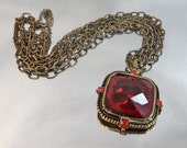 Vintage Red Faceted Necklace Garnet Red Crystals, Large Pendant Three Chain