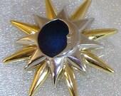 Vintage Liz Claiborne Brooch Blue Moon and Stars