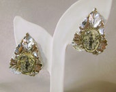 Vintage Siam Earrings. Silver.  Geisha with Parasol Cameo.