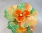 Vintage Shell Brooch Peach Mint  Green Orange Flower