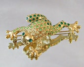 Vintage Frog Brooch Peridot Emerald and Lime Green Rhinestone