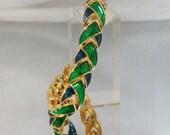Vintage Enamel Bracelet Blue Green Gold Star Trek
