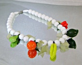 Vintage Glass Fruit Necklace. White Choker. Art Glass.