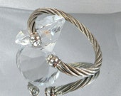 Vintage Silver Bracelet.  Silver Twisted Wire.  Clear Rhinestones.