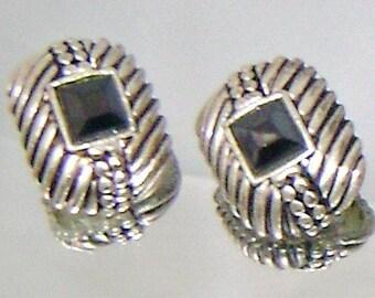 Black Glass and Silvertone Geometric Vintage Earrings