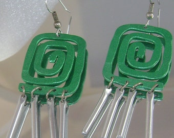 Vintage Windchime Earrings Green Swirl Asian