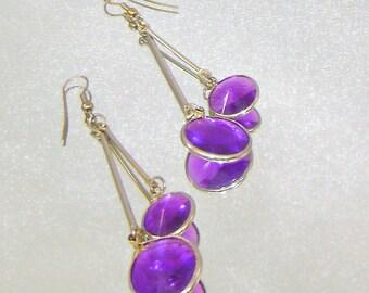 Vintage Earrings Amethyst Purple Bezel Set Swinging Pendulum