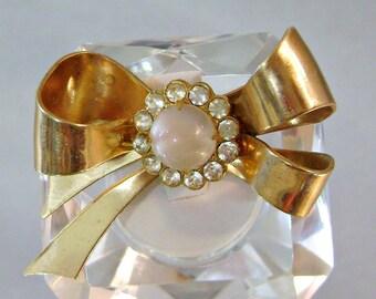 Vintage Coro Pegasus Brooch Gold Bow. Rhinestones. Moonglow.