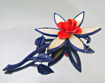 Vintage Brooch Mod Flower Power Red White and Blue Rose
