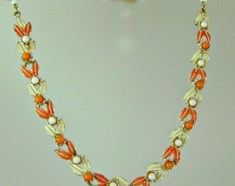 Vintage Pakula Necklace.  Orange. White. Cream.