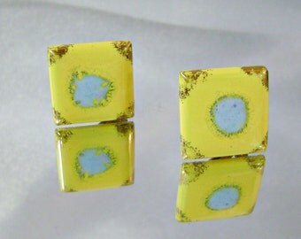 Vintage Ceramic Earrings. Yellow Baby Blue Gold Gilt