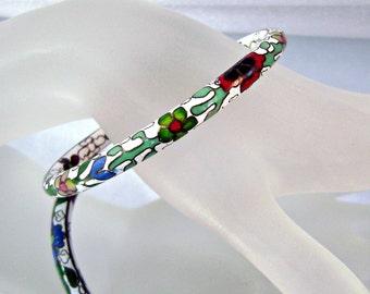 Vintage Cloisonne Bracelet Chinese Enamel Bangle