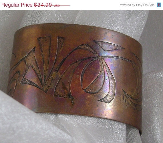 HOLIDAY SALE Vintage Bracelet Copper Native American Wide Cuff Etched
