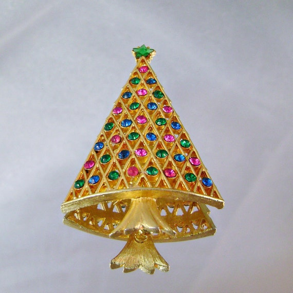Vintage christmas tree brooch gold with pink blue and green - Pink and blue christmas tree ...