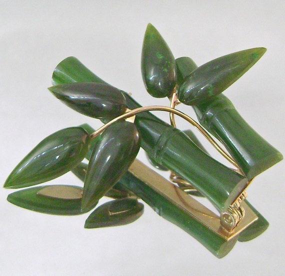 Vintage Jade Brooch Asian Dark Green Jade Tropical Bamboo Floral