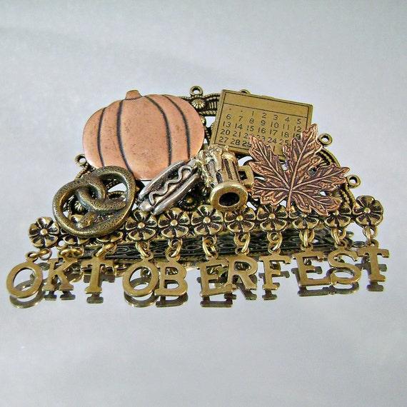 Vintage Oktoberfest Brooch Copper Pewter Brass Dangles