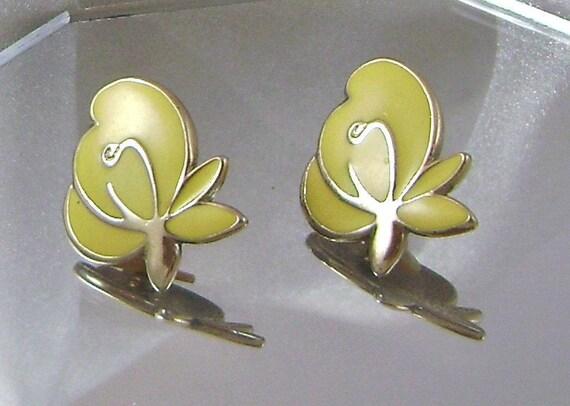 Sunny Yellow Enamel Modernist Vintage Earrings
