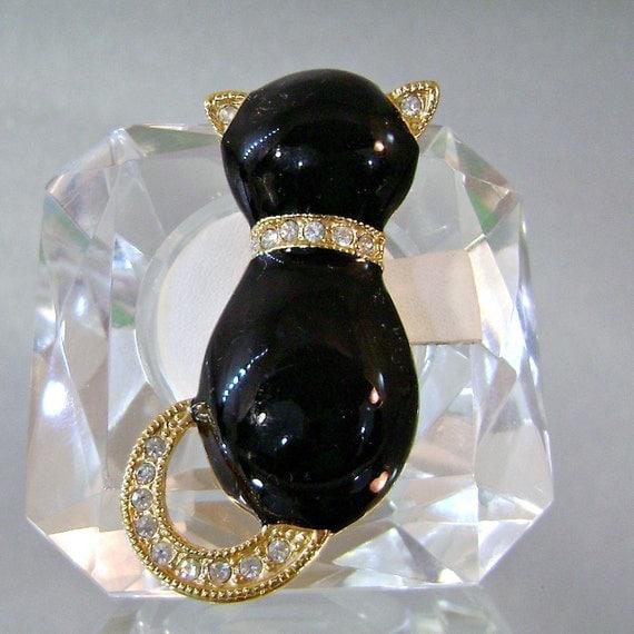 Vintage Black Cat Brooch.  Rhinestones.  Roman.