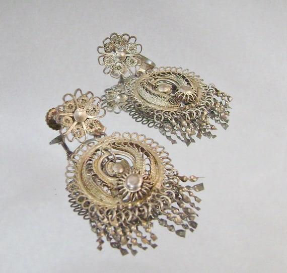 Vintage Earrings Gold Gilt on Silver Filigree