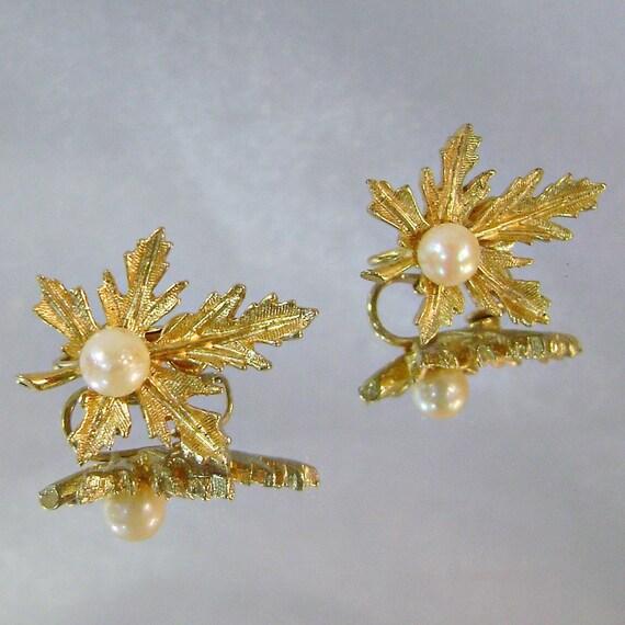 Vintage Earrings Capri Genuine Pearl Autumn Leaf