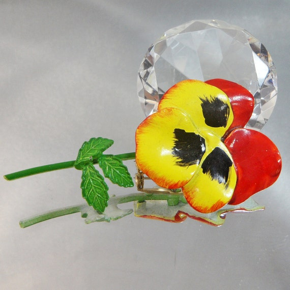 Vintage Pansy Brooch.  Red.  Black. Yellow. Green 70s Retro Mod Flower Power