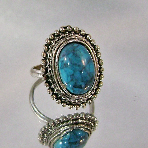 Vintage Turquoise Ring.  Silver.  Faux Turquoise.