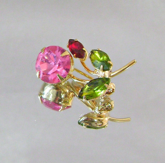 Vintage Brooch Honeysuckle Pink, Ruby Red, Olivine Green Rhinestone Jeweled Flower