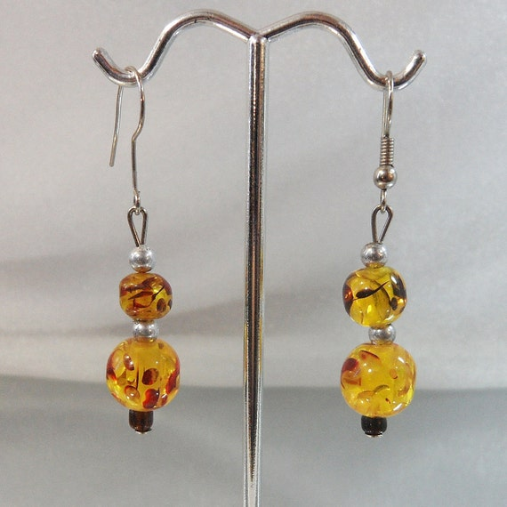 RESERVED for ELIZABETH Vintage Glass Earrings Art Glass Honey Amber