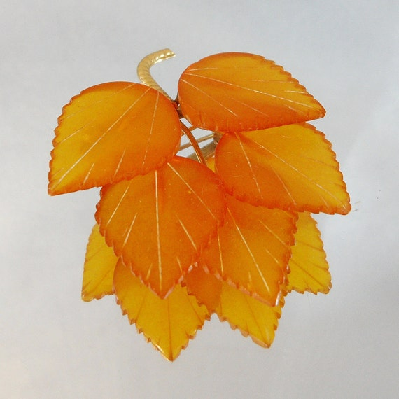 Vintage Amber Brooch.  Honey Amber Leaves. Baltic Amber.
