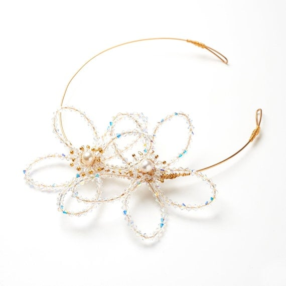 Swarovski Crystal Flower side Tiara in Gold - Made to order