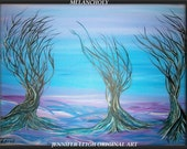 MELANCHOLY......One Day Sale.....Original Abstract Modern Art Tree Trees Painting, Blue, Purple, by J.LEIGH