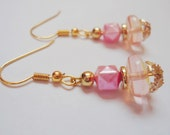 Light Pink Earrings with Gold