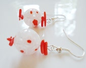 Coral Earrings with Flower Beads
