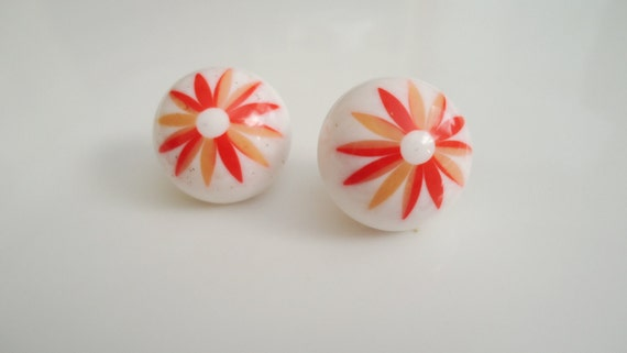 Vintage Orange Earrings Lucite Flower Posts